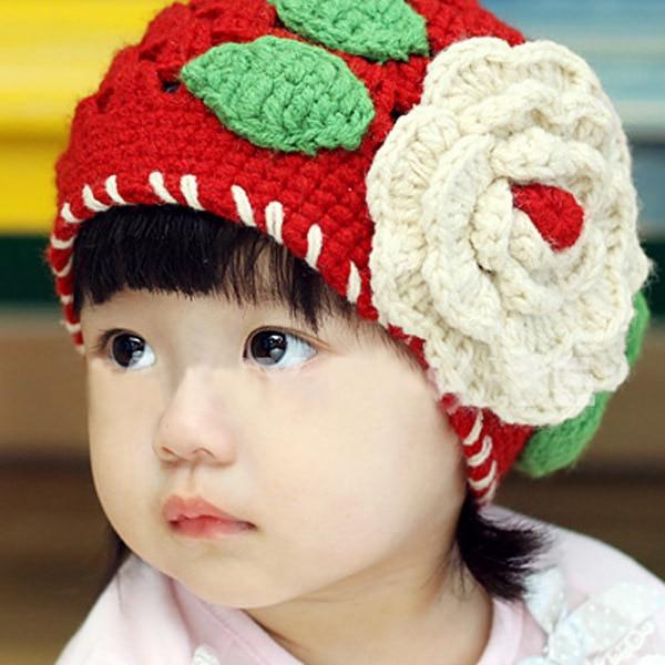 купить Girls Kids Knitting Crochet Hollow Big Flowers Red Head Hat Winter Hat Cap 1-2T недорого