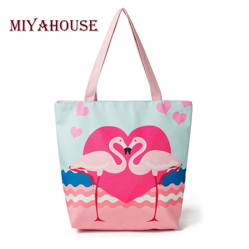 Miyahouse Lovely Flamingo Printed Tote Handbag Female Pink Design Canvas Beach Bag Lady Large Capacity Women Shopping Bags