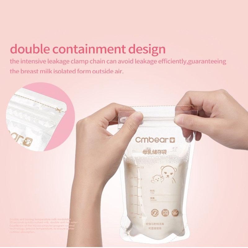 30Pcs Breast Milk Preservation Bag Baby Breast Milk Storage Bag BPA-Free 220ML Large Capacity YH-17