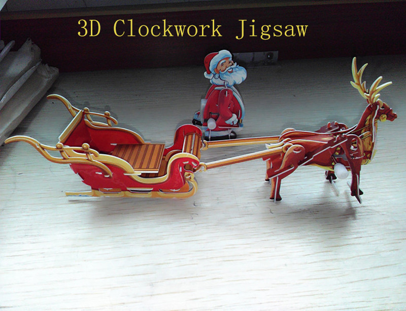 Holiday decoration christmas gifts on aliexpress com alibaba group - Santa Claus Elk Deer And Sled 3d Clockwork Jigsaw Puzzle