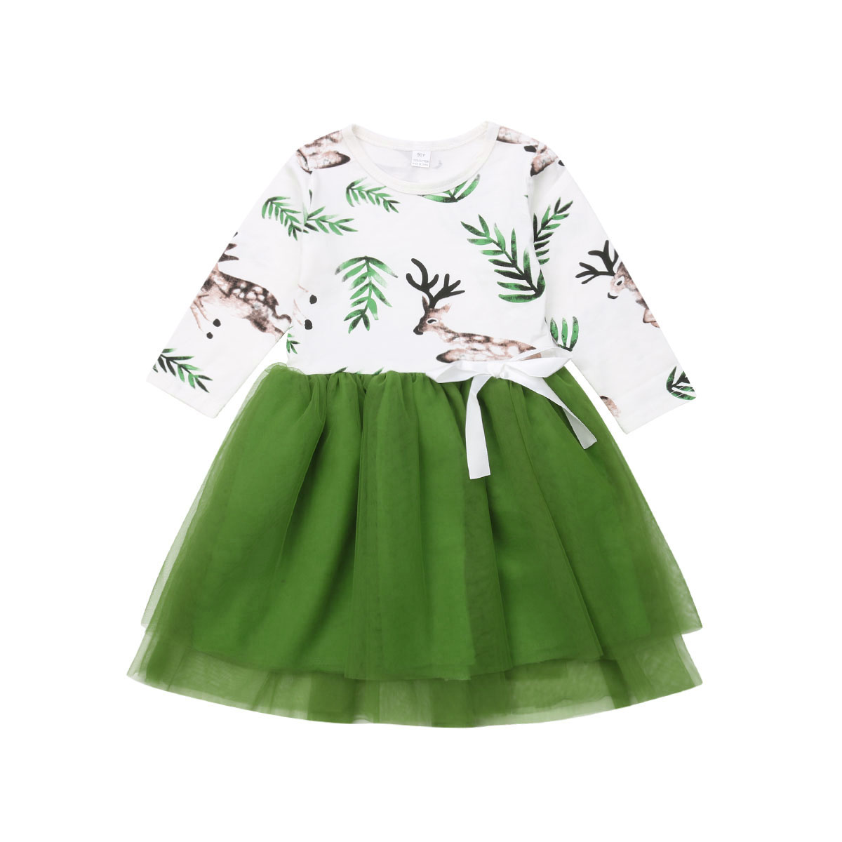 2-7Y Christmas Kids Baby Girls Dress Xmas Deer Tutu Dresses Party Casual Clothes