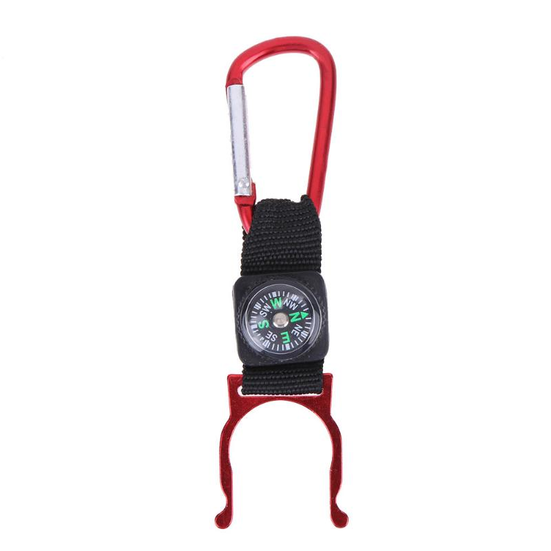 1PCS Camping Hiking Climbing Water Bottle Holder Clip Carabiner Buckle Hook Strap Keychain With Compass Outdoor Tool 5Colors