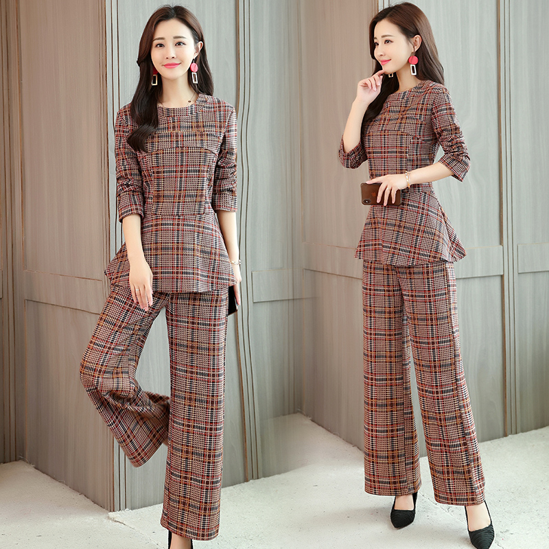 Plaid Two 2 Piece Sets Suits Women Long Sleeve Tunic Tops And Wide Leg Pants Sets Office Elegant Spring Autumn Women's Sets 2019 33
