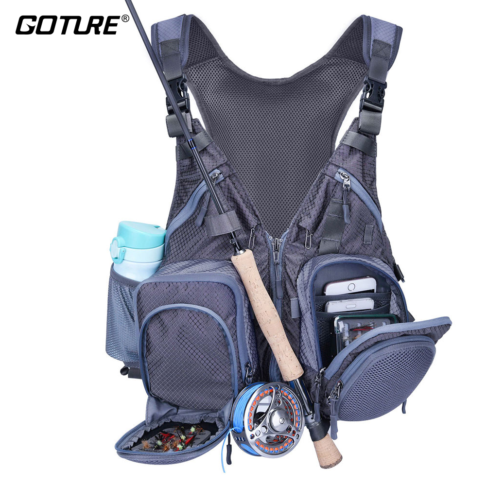Goture Fly Fishing Vest Multi Function And Multi Pockets Backpack Jacket Vest Polyester And Nylon Meterial With 5 Surprise Gifts floral print multi pockets zipper fly cargo shorts