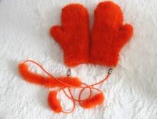 Fashion warm natural mink preparation gloves for ladies