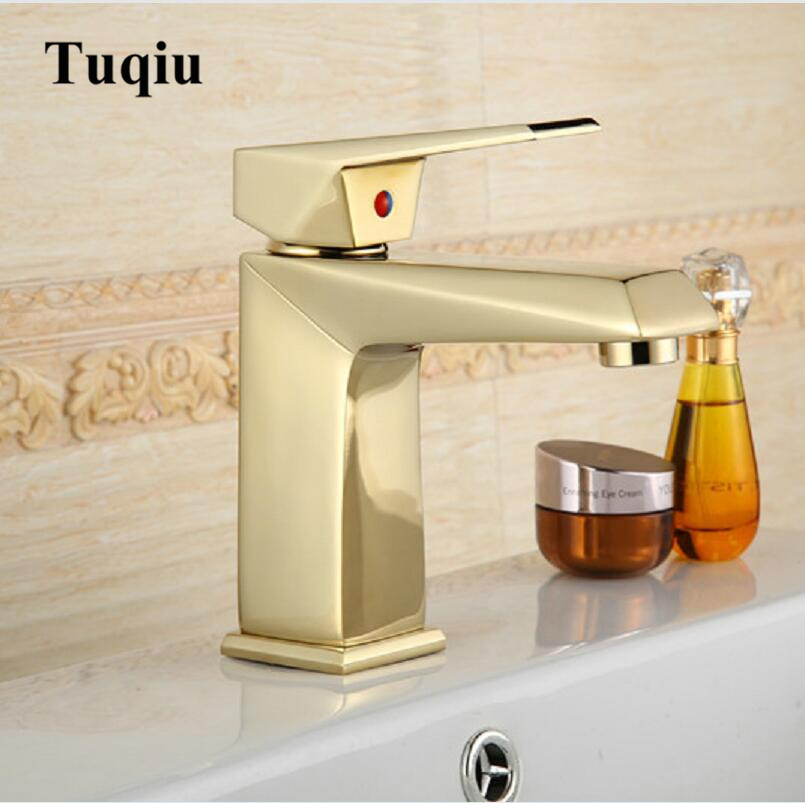 цена на Basin Faucets Modern Gold/Rose Gold Bathroom Faucet Single Hole Cold and Hot Basin Crane Water Tap Basin Faucet Mixer Taps