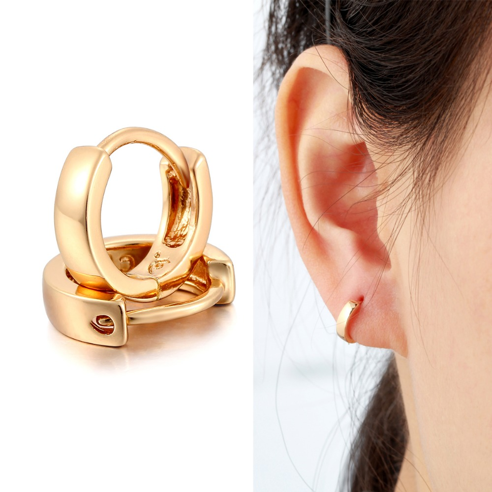 Cute Yellow Gold Color Mini Slim Small Huggie Hoop Earrings For Women Kids  Girls Baby Children