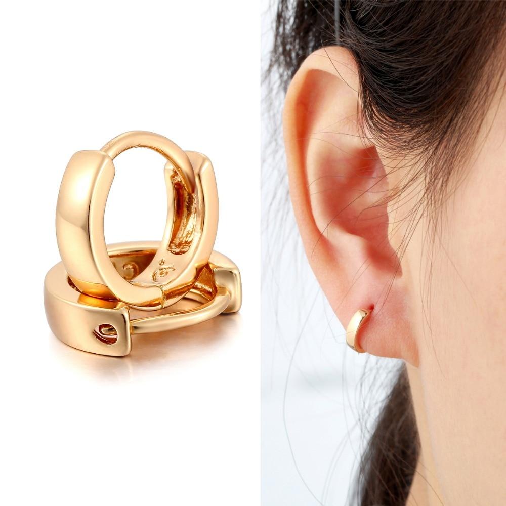 Cute Yellow Gold Color Mini Slim Small Huggie Hoop Earrings For Women Kids  Girls Baby Children