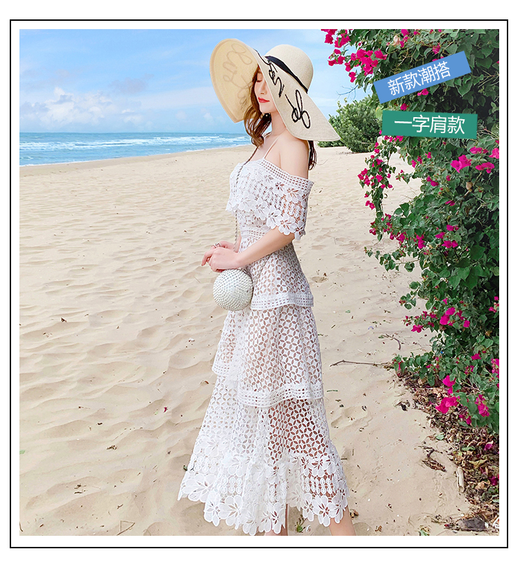 19 New Summer Women Cascading Ruffle Lace Cake Beach Dress Female Casual Sweet Embroidery Hollow Out Chic Party Midi Dresses 3