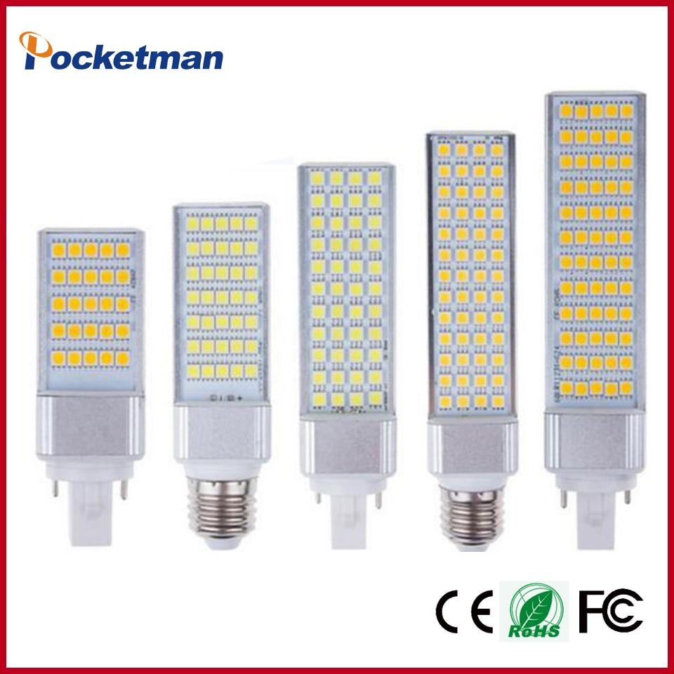 LED Bulbs 7W 9W 10W 12W 15W E27 G24 LED Corn Bulb Lamp Light SMD 5050 Spotlight 180 Degree AC85-265V Horizontal Plug Light ZK40 6pcs sencart g9 1500lm 15w smd2835 180 led corn bulb