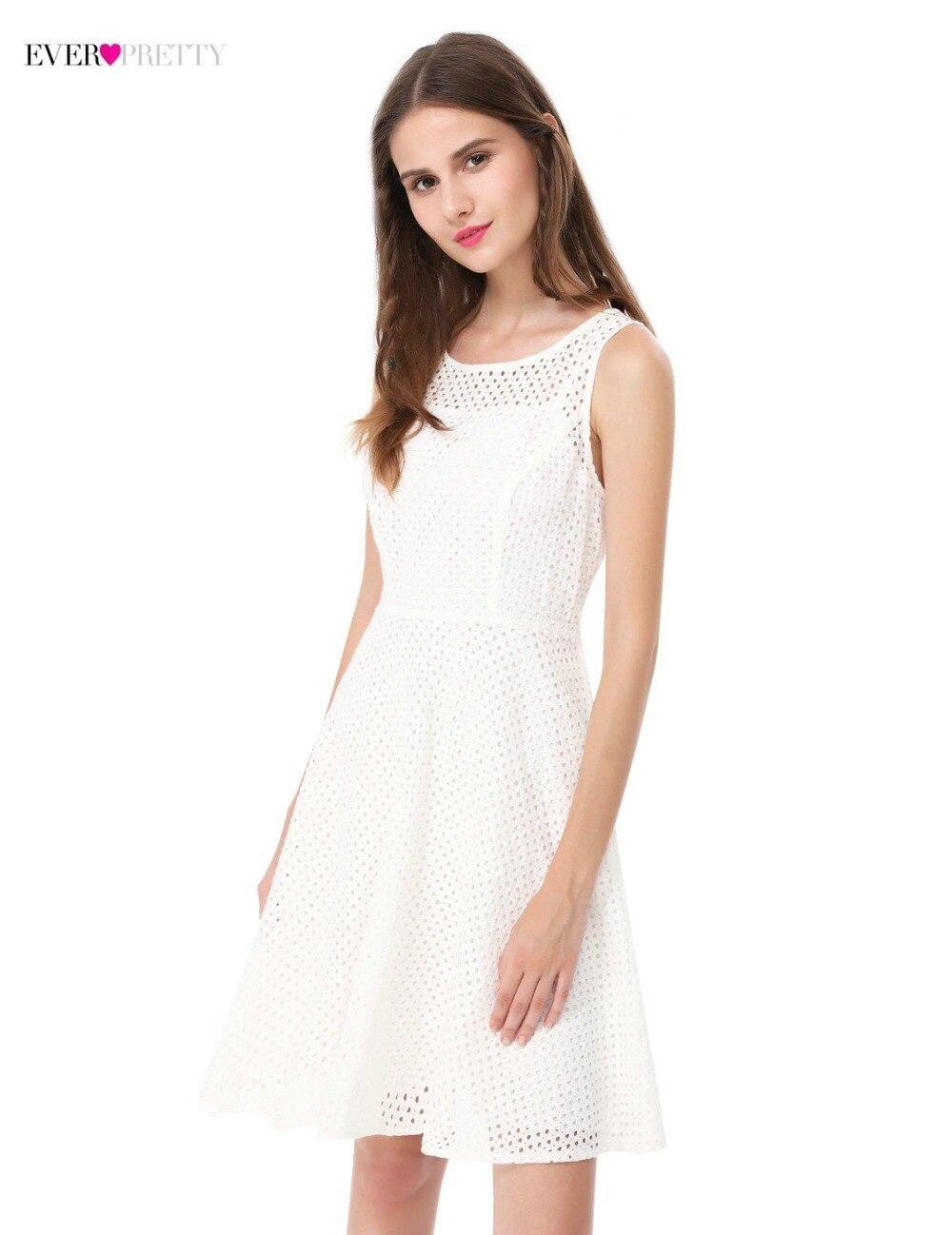 Ever Pretty New White Homecoming Dresses 2018 Sleeveless Elegant Simple Short Party Dresses AS05504 Vestidos De Graduacion