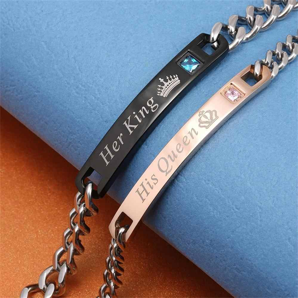 AZIZ BEKKAOUI DIY Her King His Queen Couple Bracelets Stainless Steel Crytal Crown Charm Bracelets For Women Men Drop Shipping