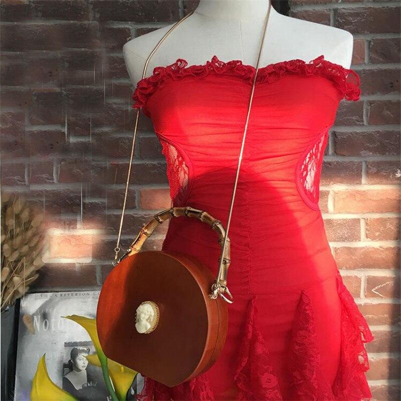 2019 nuevo bolso de bambú para mujer, bolso de madera hecho a mano, bolso redondo para mujer, bolso de cadena, bandolera, bolso de marcas de diseñador, bolsa - 5