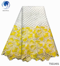 BEAUTIFICAL african cord lace cupion fabric guipure with rhinestones big flowers styles TSG14