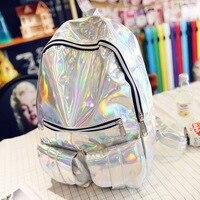 Hot Sale Women Silver Hologram Laser Backpack For Teenage Girls Fashion Shoulder Bags School Bookbags Mochila