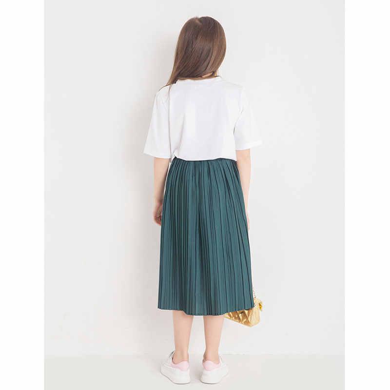 8346e88dc Conjuntos de ropa para niñas adolescentes 2018 moda verano niños Set letras  camiseta + Falda plisada larga 2 piezas niños ropa 6 8 10 12 14