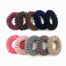 5pcs/pack Velvet Telephone Coil Hairbands Women Spiral Hair Ties Girls Rings Rope Solid Color Accessories Gum Scrunchy