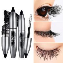 Newest Silk Fiber Eyelash Lengthening Mascara Thick Makeup Waterproof Volume Lengthening Black Eye Lashes Extension Mascara Kit все цены