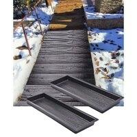 2 Pcs Molds Imitation Wood Garden Pavement Mold DIY Stepping Stone Concrete Paving Mould Walk Pavement for Road Pathmate