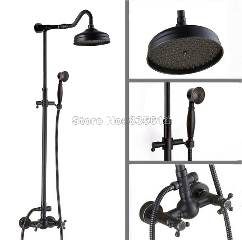 Black Oil Rubbed Bronze Bathroom Wall Mounted 8 Rain Shower Faucet Set with Handheld Shower & Dual Handle Tub Mixer Taps Wrs704Black Oil Rubbed Bronze Bathroom Wall Mounted 8 Rain Shower Faucet Set with Handheld Shower & Dual Handle Tub Mixer Taps Wrs704