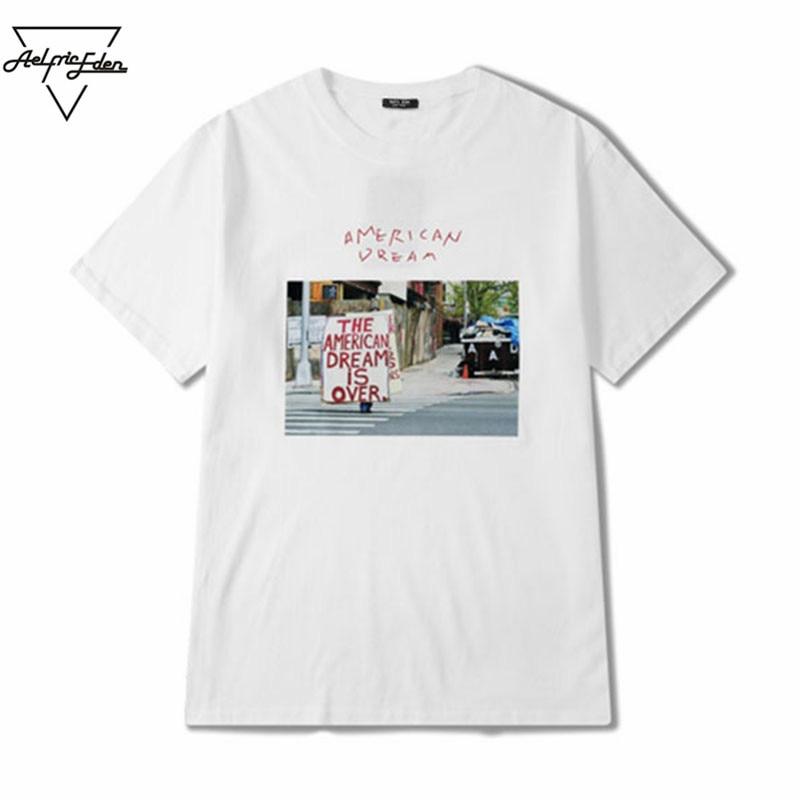 Aelfric eden men women casual white t shirt street view for Vista print tee shirt