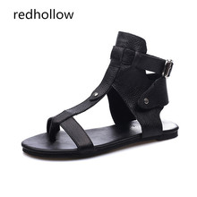 Gladiator Sandals Women Casual Shoes Summer Flat Sandals Rome Style Genuine Leather Shoes Ladies Sandals Summer Mujer Sandalias