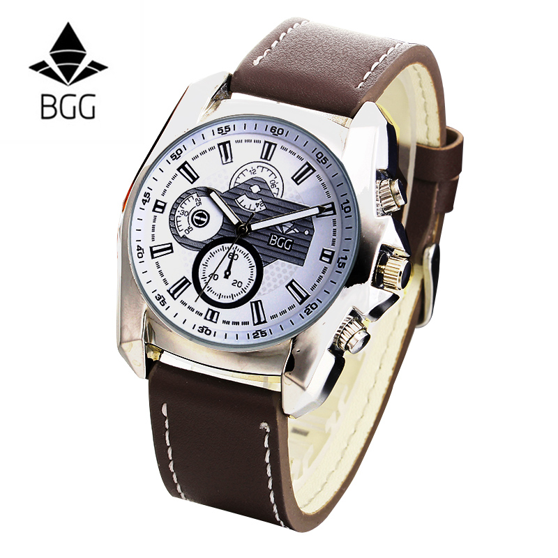 Gear decoration Mens Casual Watch leather Quartz Watch BGG Luxury Brand Male sports Military Wristwatch men Business clock Hours new arrival ultrathin quartz watch luxury brand guanqin waterproof watch male casual clock hours men leather business wristwatch