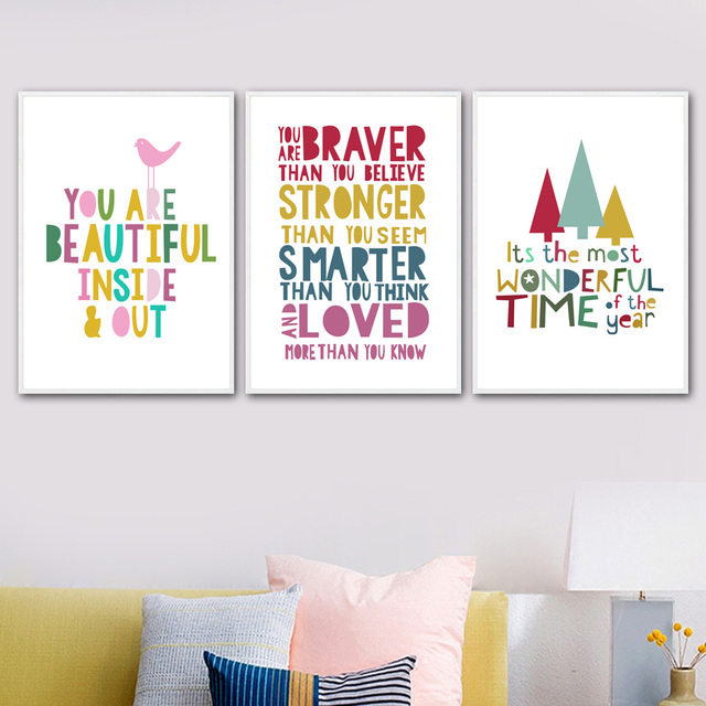 Nordic Posters And Prints Cartoon Motivational Quotes Wall Art