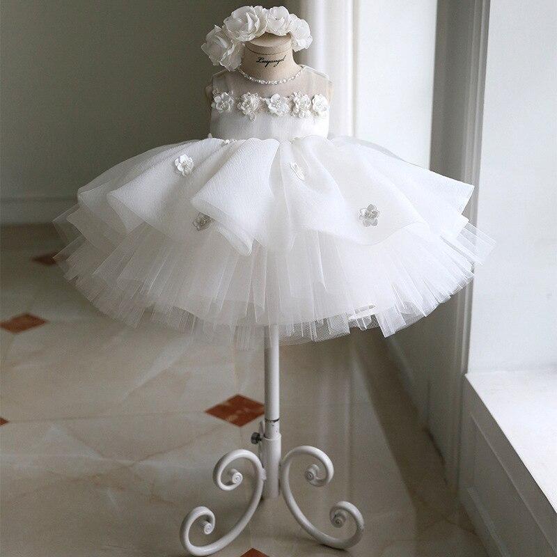 Children's Princess bun dress dinner party evening dress Flower Girl dresses for Weddings Ivory Kids Satin First Communion Dress
