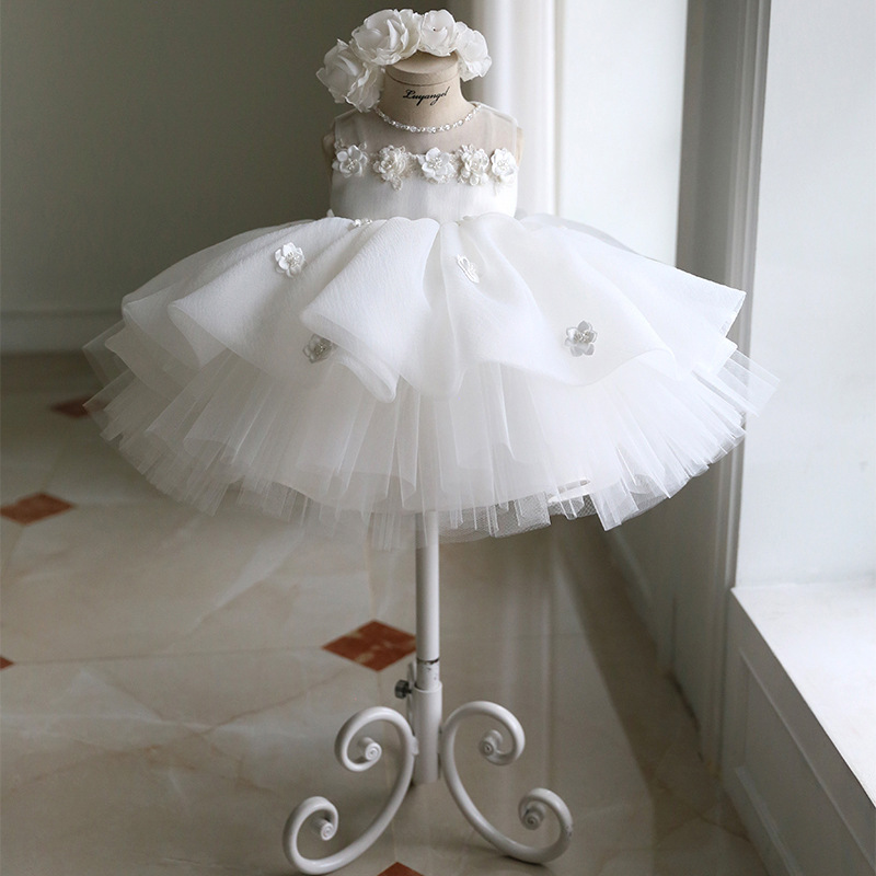 Children's Princess bun   dress   dinner party evening   dress     Flower     Girl     dresses   for Weddings Ivory Kids Satin First Communion   Dress