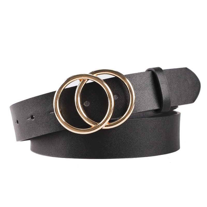 Women Clothes 2019 Women Double Ring Buckle Leather   Belt   Female Straps Waistband for Jeans Big Circle Buckle   Belt   Luxury Fashion