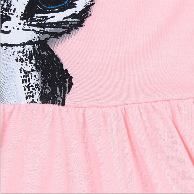 B&N Hot Sale Summer Cute Girl dresses Cat Print Fashion Baby Girl Dress Grey Pink Cotton Children Clothing7