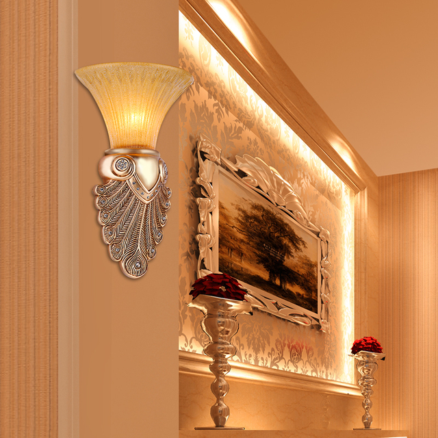 Roman Style Antique Wall Sconce Bathroom Vintage Mirror Light Retro Led  Wall Lamp Glass Shade Bedroom