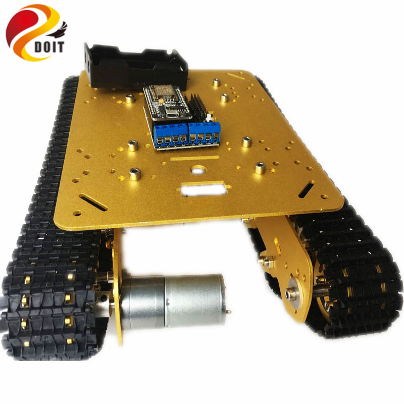 DOIT TS100 RC WiFi Robot Tank Car Chassis Controlled by Android/iOS Phone based on Nodemcu ESP8266 Development Kit with Video doit v3 new nodemcu based on esp 12f esp 12f from esp8266 serial wifi wireless module development board diy rc toy lua rc toy