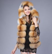 2016 fox fur vest with a hood fur coat women sweater vest waistcoat