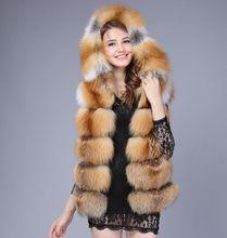 2016 fox fur vest with a hood fur coat women sweater vest waistcoat