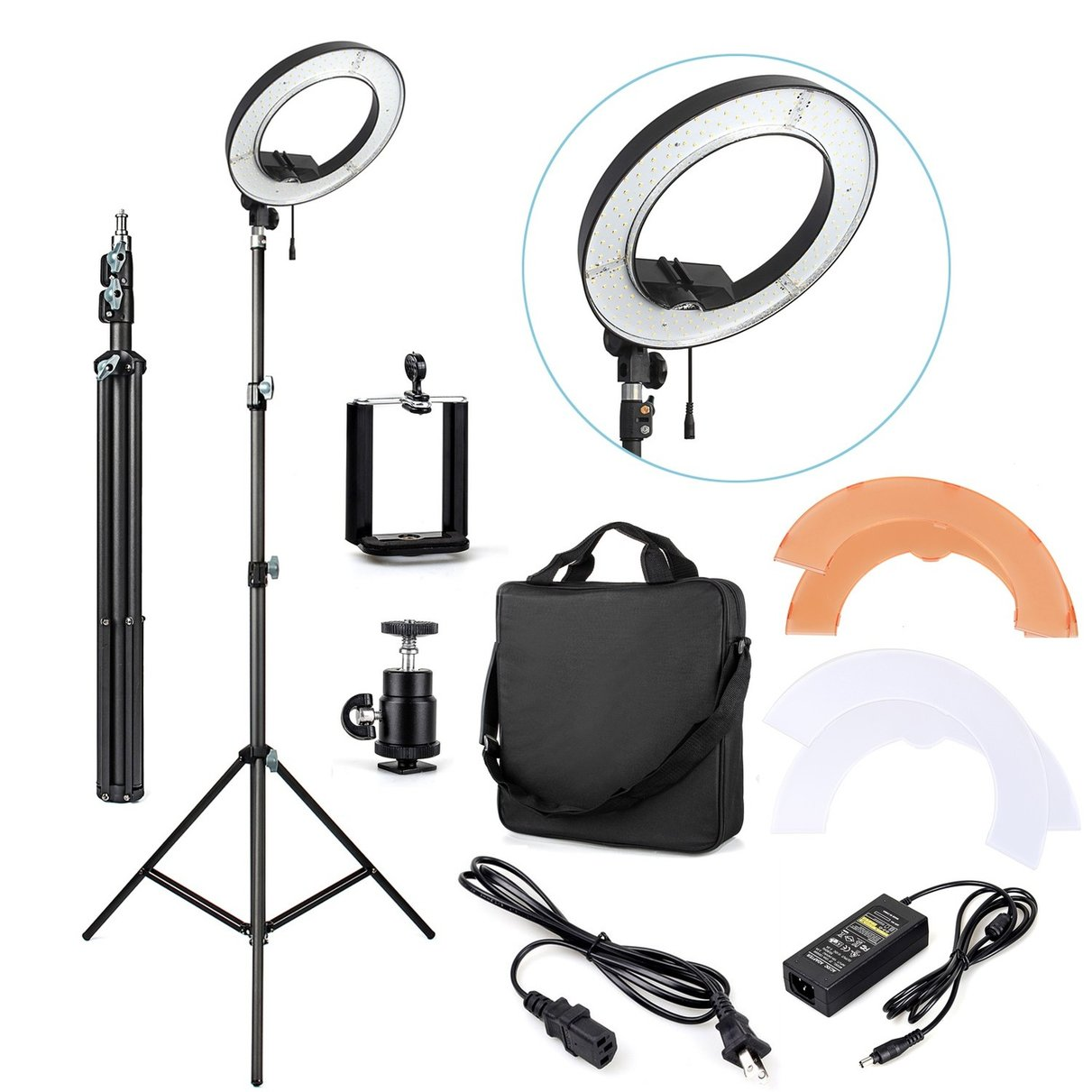 ES180 180 LED 13 Stepless Adjustable Ring Light Camera Photo Video Port + Light Stand + Phone Clamp + Tripod Head + carry bag