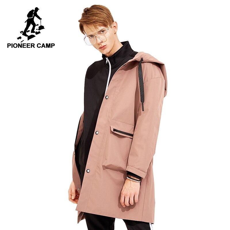 Пионерский лагерь Новое поступление длинный плащ для мужчин в корейском стиле брендовая одежда с капюшоном мужская модный одноцветный пла...