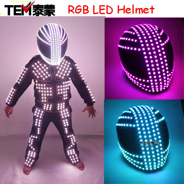RGB Color <font><b>LED</b></font> <font><b>Helmet</b></font> Monster Mask Luminous Hat Dance Clothes <font><b>DJ</b></font> <font><b>Helmet</b></font> For Performances <font><b>LED</b></font> Robot Performance Party Show