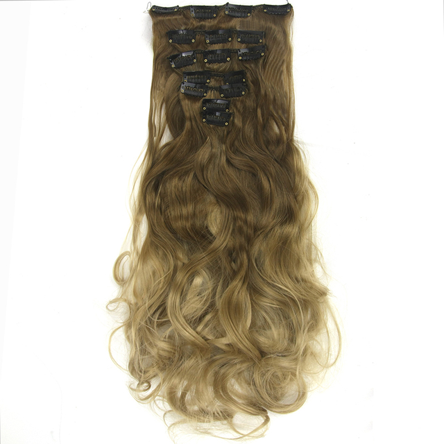 Soowee 7pcsset Long Curly Synthetic Hair Brown Gray Hair Extension