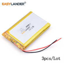 3pcs /Lot 4500mAh 105575 3.7v lithium Li ion polymer rechargeable battery For GPS PSP DVD PAD E-book tablet pc laptop power bank