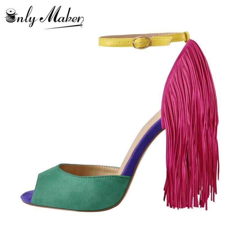 Onlymaker 女性のフリンジデコレーションピープトウパンプス 10 センチメートルハイヒールレッドカラーサンダル足首バックルビッグサイズのためのパーティー  グループ上の 靴 からの ハイヒール の中 1