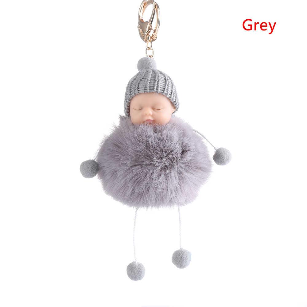 1pc bonito pequeno bebê falso pele fluffer bola pom pom charme chaveiro carro anel chave presente