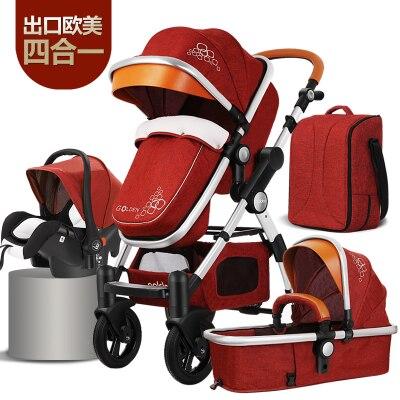 7.8 3 en 1 haute vue de luxe infantile bébé poussette quatre roues pliant système de voyage avec siège de voiture berceau panier de couchage