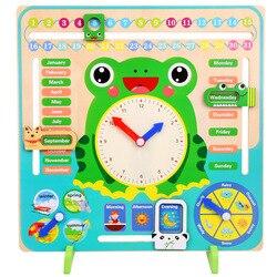 Montessori de madeira Brinquedos Do Bebê Relógio Calendário Estação Meteorológica Tempo Cognição Educação Préescolar Auxiliares de Ensino Brinquedos Para As Crianças