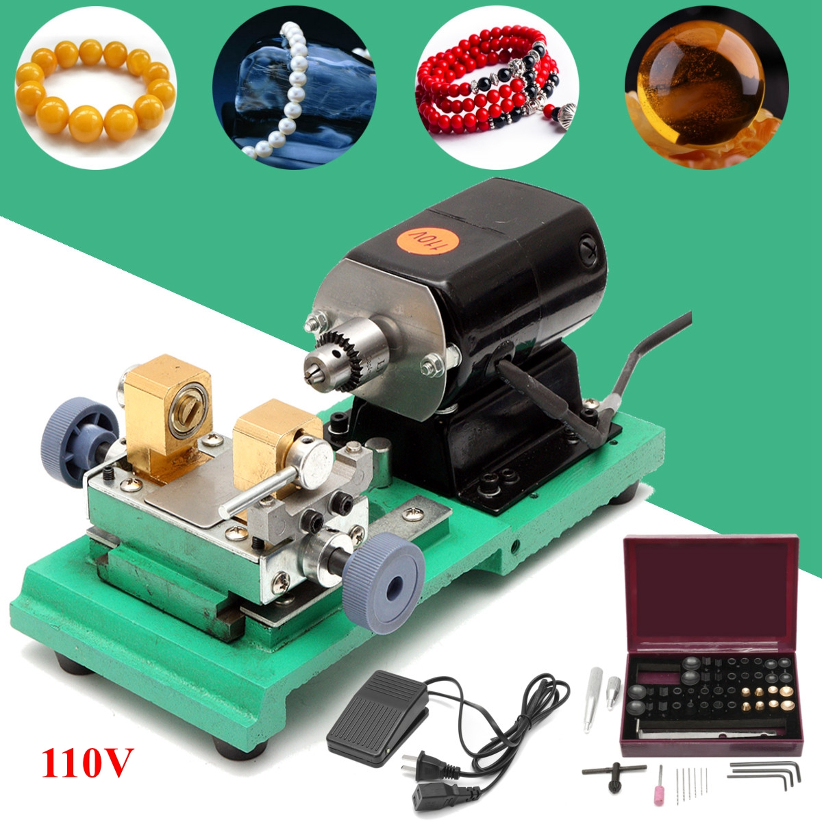 110V 240W Pearl Drilling Holing Machine Driller Jewelry Punch Engraving Engraver Machine Tools Full Set