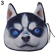 coin purses wallet ladies 3D printing dogs animal big face change fashion cute small zipper bag women Mujer portafoglio bolso