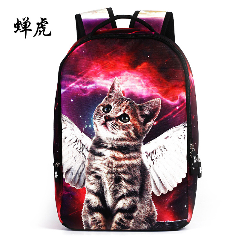 2016 New Hot sale angel cats embossing women backpack girls students bag school backpacks travel backpacks package free shipping