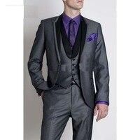 Custom made hoge kwaliteit 3 stuk zwarte suits bruiloft past westerse bruiloft smokings/business suits/westerse bruiloft smoking