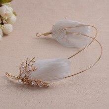 Золотые коралловые жемчужные бусы, белое перо, сказочное дерево/морская тематика, диадемы для украшения волос, вечерние/балетные/сценические головные уборы принцессы
